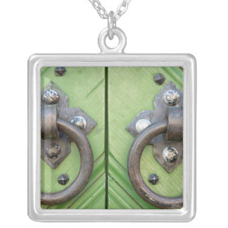 Old door silver plated necklace