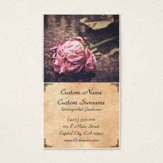 Old dried vintage pink rose business card