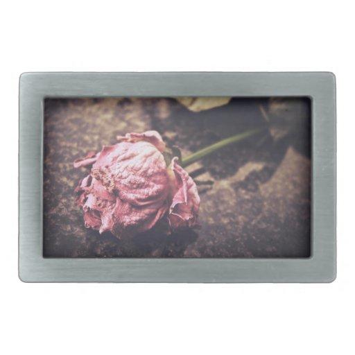 Old dryed vintage pink rose macro shot photo rectangular belt buckles