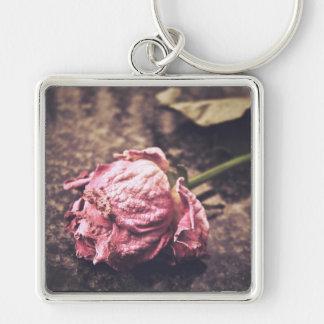 Old dryed vintage pink rose macro shot photo keychain
