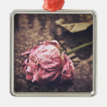 Old dryed vintage pink rose macro shot photo christmas tree ornaments