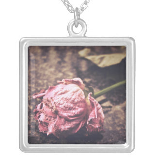 Old dryed vintage pink rose macro shot photo square pendant necklace