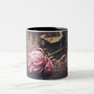 Old dryed vintage pink rose macro shot photo Two-Tone coffee mug