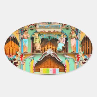 Old Dutch barrel organ Oval Sticker