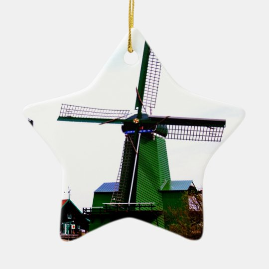Old dutch historical power wind mill ceramic ornament