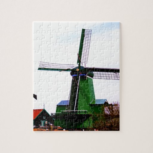Old dutch historical power wind mill puzzle