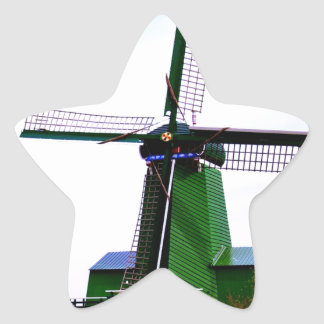 Old dutch historical power wind mill star sticker