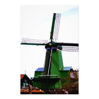 Old dutch historical power wind mill custom stationery