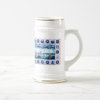 Old Dutch Maritime Holland Delftware Style Beer Stein