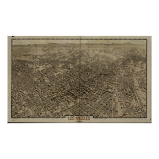 Old Early Los Angeles CA Birds Eye Panoramic Map Poster
