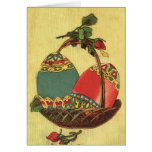 old easter eggs greeting card