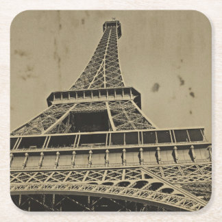 Old Eiffel Tower Photography Square Paper Coaster