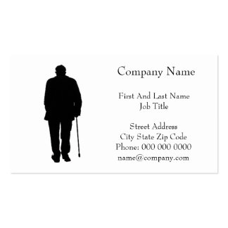 Old Elderly Man Walking Black Silhouette Drawing Double-Sided Standard Business Cards (Pack Of 100)