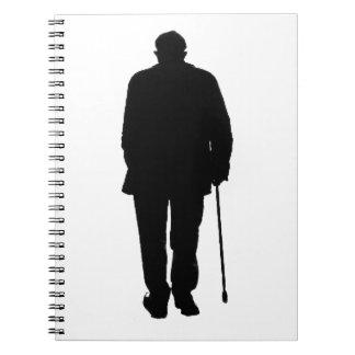 Old Elderly Man Walking Black Silhouette Drawing Notebook