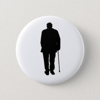 Old Elderly Man Walking Black Silhouette Drawing Pinback Button
