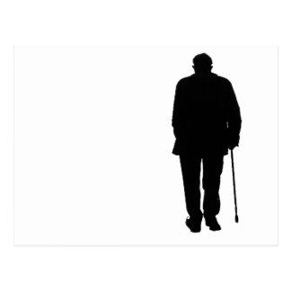 Old Elderly Man Walking Black Silhouette Drawing Postcard