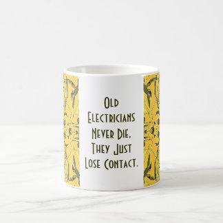 old electricians never die coffee mug
