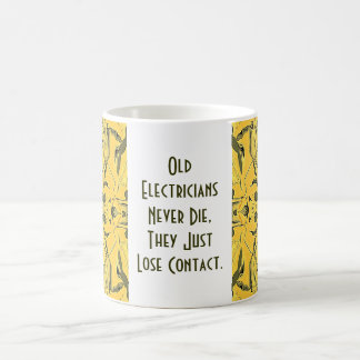 old electricians never die classic white coffee mug