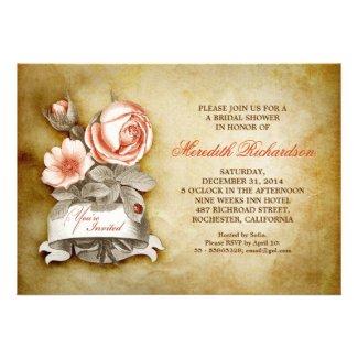 old elegant vintage bridal shower invitation