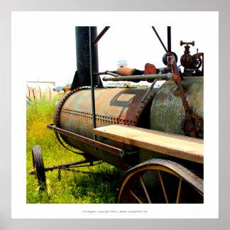 Old Engine antique tractor truck junkyard folk art Poster
