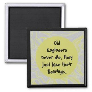 old engineers never die joke 2 inch square magnet