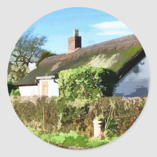 OLD ENGLAND COTTAGES UK ROUND STICKER