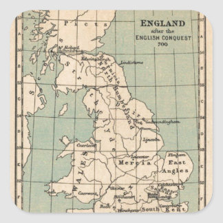 Old England Map Square Sticker