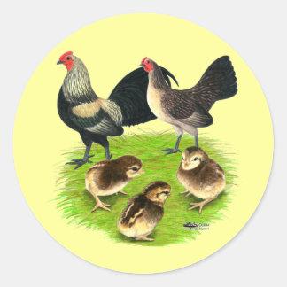 Old English Bantam Brassy Back Family Classic Round Sticker