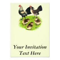 Old English Bantam Brassy Back Family Invitation
