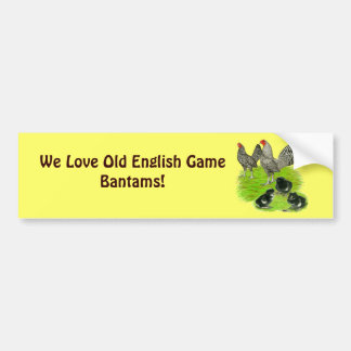 Old English Barred Bantam Family Bumper Sticker