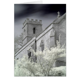 Old English Church And Trees Infrared Card