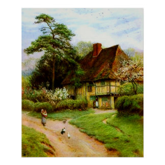 Old English Country Cottage Poster