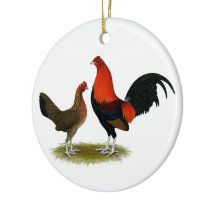 Old English Game Bantams:  BB Red Pair Ceramic Ornament