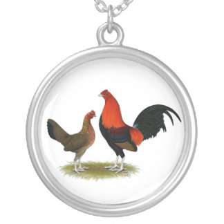 Old English Game Bantams:  BB Red Pair Silver Plated Necklace