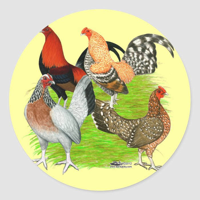 Old English Game Quartet Classic Round Sticker