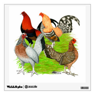 Old English Game Quartet Wall Decal