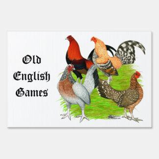 Old English Game Quartet Yard Sign