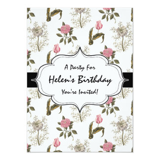 Old English Garden Vintage Floral Pattern Custom Announcements