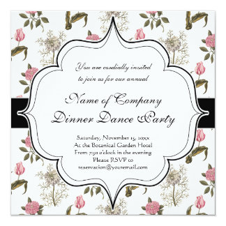 Old English Garden Vintage Floral Pattern 5.25x5.25 Square Paper Invitation Card