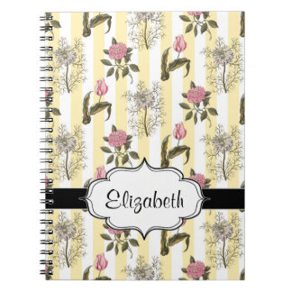 Old English Garden Vintage Floral Pattern Spiral Notebook