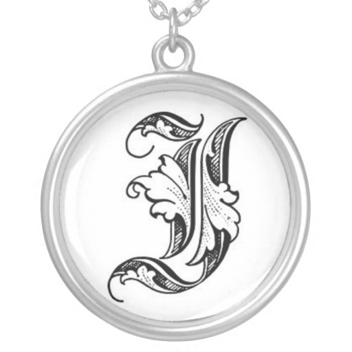 Old English Initial I/J Necklace
