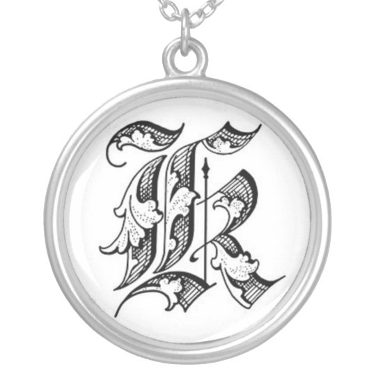 Old English Initial K Necklace