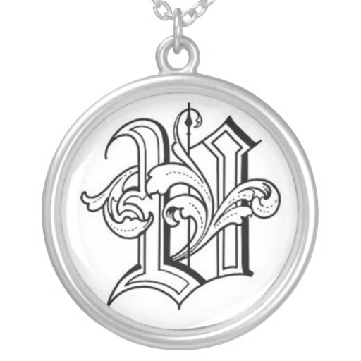 Old English Initial V Necklace