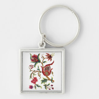 Old English Jacobean Embroidery Silver-Colored Square Keychain