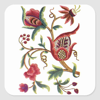 Old English Jacobean Embroidery Square Sticker