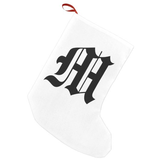Letter Christmas Stockings.Old English Letter M Christmas Stocking