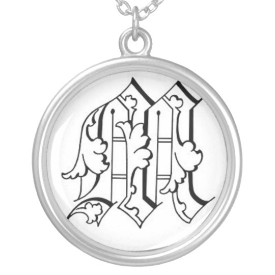 Old English Letter M Necklace