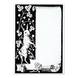 "Old English rabbit and scroll 5"" X 7"" Invitation Card"