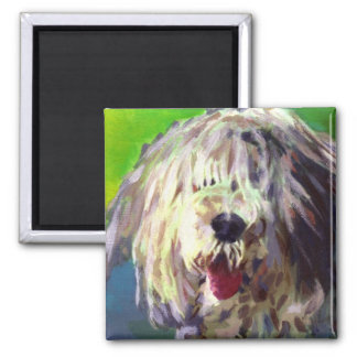 Old English Sheep Dog 2 Inch Square Magnet