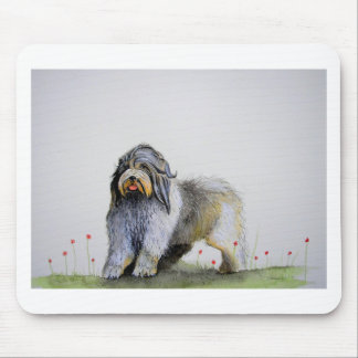 Old English Sheep Dog puppy and poppies Mouse Pad